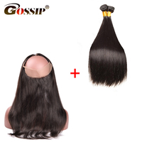 Malaysian Hair Weave Bundles With Closure Hair Extension Gossip Straight 360 Lace Frontal With Bundle Remy Human Hair