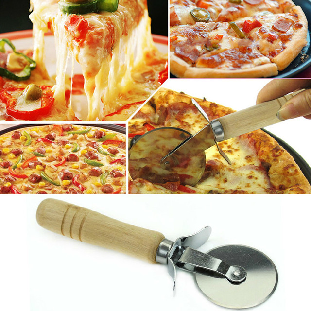 Pizza Cutter Blade wooden kitchen tools Handle Stainless Knife