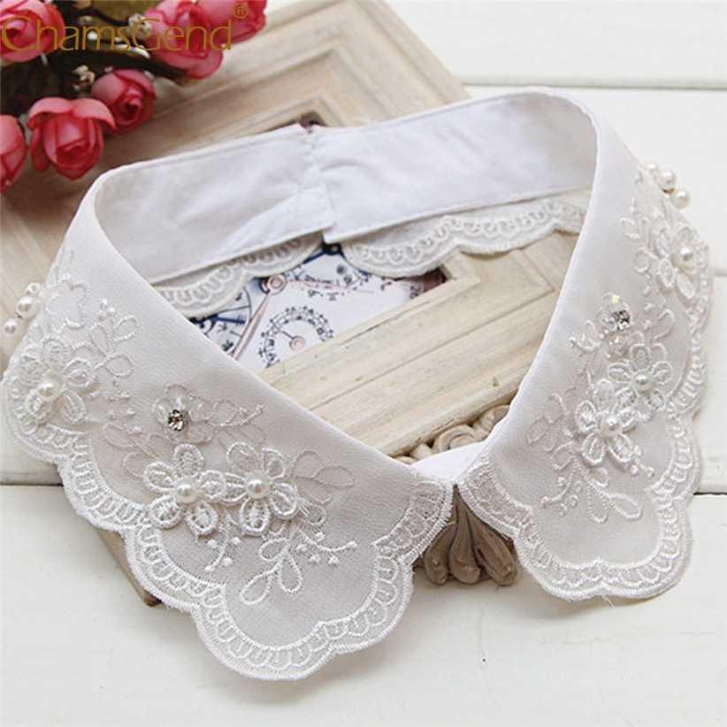 النساء خمر التطريز بالأزهار انفصال طوق أنيقة سيدة الملكي الدانتيل الأبيض كاذبة وهمية قميص الياقات 90514