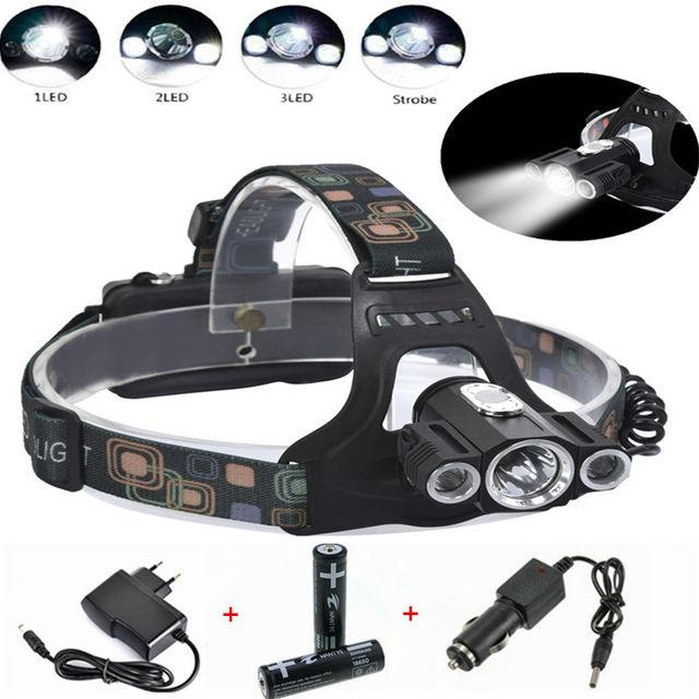 5000LM LEVOU Farol CREE XM-L T6 + R5 Farol Recarregável 4 Modos cabeça Tocha + 2x18650 bateria + DC/carregador de Carro