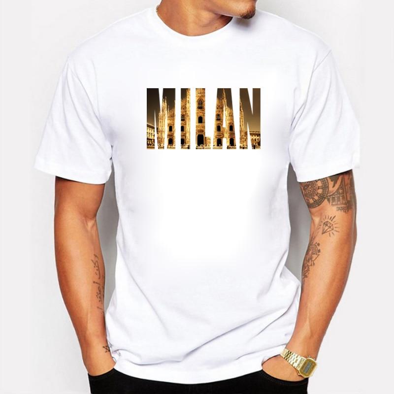 Brand Clothing Men T Shirt International Fashion Capital Milan City Design Prints Fitness Hip Hop Mens T-shirts camiseta