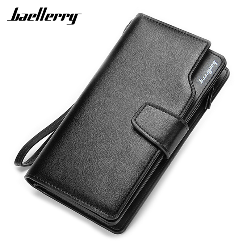 Baellerry Many Departments Wristband Men Wallet High Quality Leather Card Holder Cell Phone Pocket Man Long Purse Male Wallets baellerry pu leather men wallets zipper coin pocket sample solid male purse card holder high quality man purse cartera