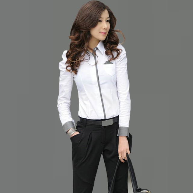 Office Ladies Elegant White Shirts Long Sleeve Blouse Ladies ...