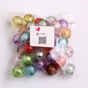Image 5 - Kwoi Vita Colorful Color Bulk Price Cheap New  20MM  Chunky Acrylic Silver Foil Beads 100pcs A lot for Kids Necklace Jewelry