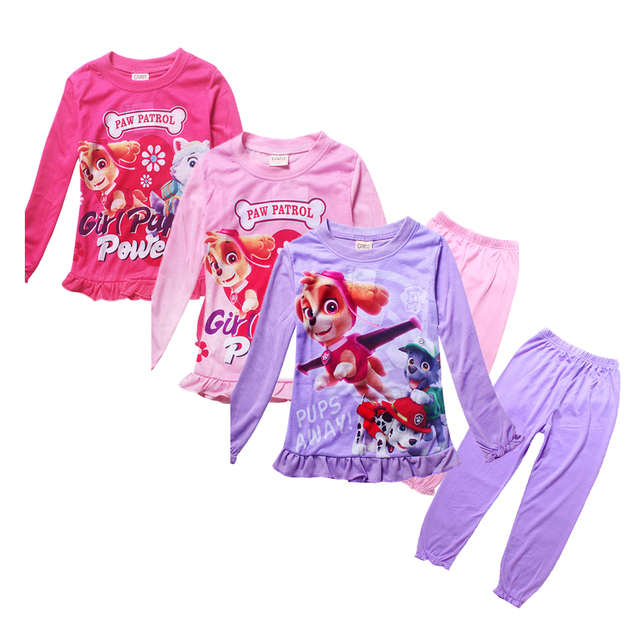 Пижамы дети симпатичные paw девушки пижамы ночной рубашке пижамы enfant детская одежда набор маленьких девочек пижама pijamas infantil menina