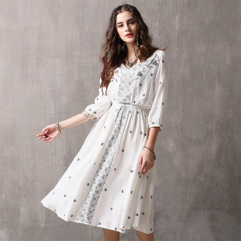 Robes cou Manches Coton Quarts ligne A Trois Haute Femmes 2019 Lanterne Femme Taille Printemps V 100 Vintage Robe fq688Y