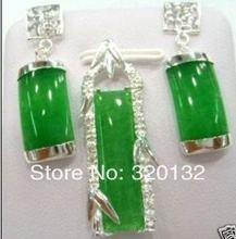 Genuine Jewelry Green Jade Earring pendant Necklace Set Silver gold plated Jewellery sets free shipping(China)