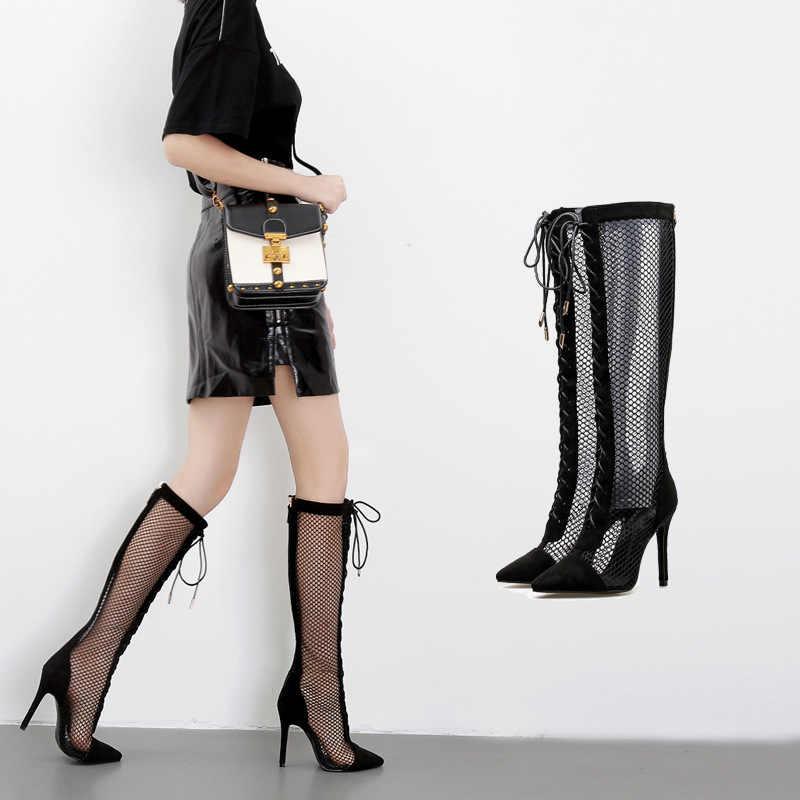 Новые женские ботинки на шнуровке; пикантные женские туфли-лодочки с острым носком на тонком каблуке; летние женские босоножки на высоком каблуке с сеткой