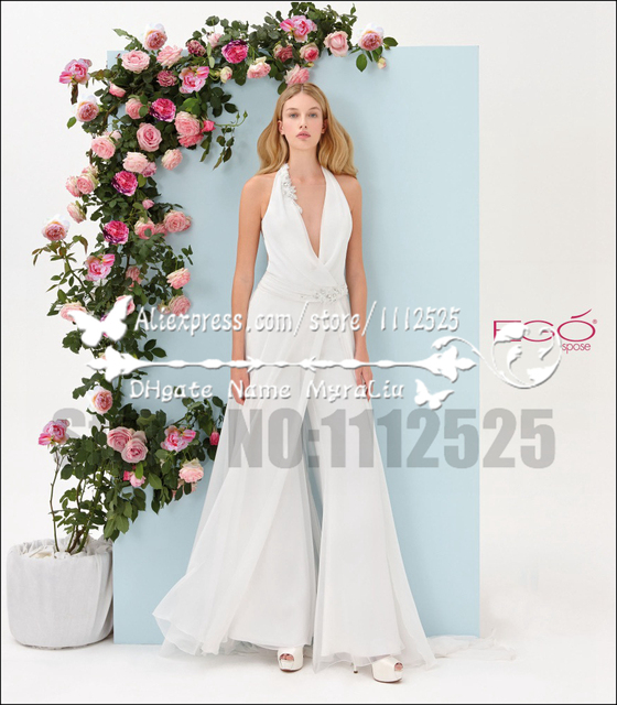 Awp 1009 Charming Beach Wedding Pant Suits Chiffon Bridal Wear Deep