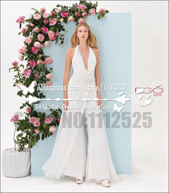 AWP 1009 Strand Charming Hochzeit Pant Anzüge Chiffon Brautmode ...