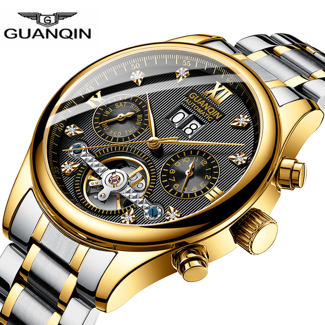 2019 GUANQIN clock men Mechanical Tourbillon style Automatic waterproof stainles