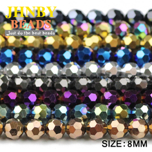 JHNBY Ball Faceted Austrian crystal 30pcs 8mm plated color Round shape Loose beads for Jewelry bracelet accessories making DIY