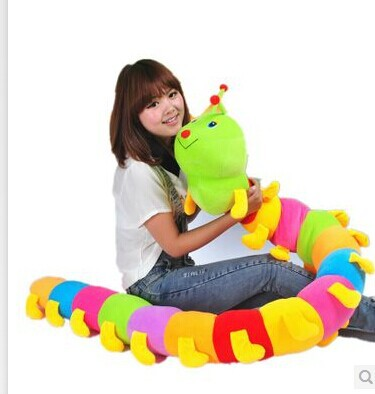 ФОТО stuffed plush 150cm colourful caterpillar plush toy doll throw pillow gift w2966