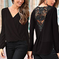 New Sexy Deep V Neck Lace Stitching Women Shirt Spring Autumn Hollow Out Chiffon Blouse Long Sleeve Tops Casual Loose OL Blusas