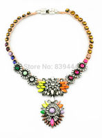 Spring Design New Resin Elegent Crystal Flower Statement Necklace