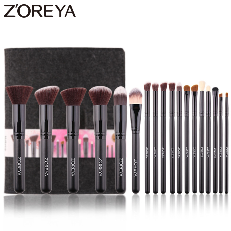 Zoreya Brand 18pcs Essential Makeup Brush Tools Soft Synthetic Fiber Cosmetic Sets Blending Lip Contour Brushes For Make Up