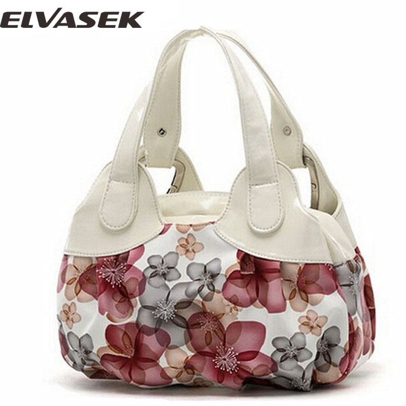 Elvasek! free shipping new popular flower pattern PU leather women handbags shou