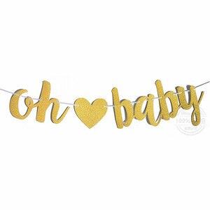 Image 2 - Altın ışıltılı harfler OH bebek kalp afiş bebek duş doğum günü partisi için 11*15cm erkek kız cinsiyet reveal parti süslemeleri