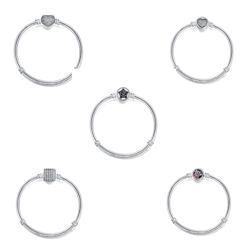 5 Style Silver Basic Chain Star Flower Shape Crystal Cz Round Clasp Bracelets for Charms Beads & Pendants For Women XBB011