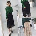 2017 новая весна, корейской моды, все матча, высокая талия, черный, цветные карты кружева завесу, юбка осень, тонкий юбка в складку женщина