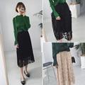 2017 new spring, Korean fashion, all-match, high waisted, black, colored card lace veil, skirt autumn, thin pleated skirt female