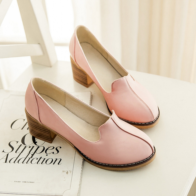New 2017 thick heel women shoes round toe heels women platform shoes chunky heel retro shoes woman black heels pink casual shoes