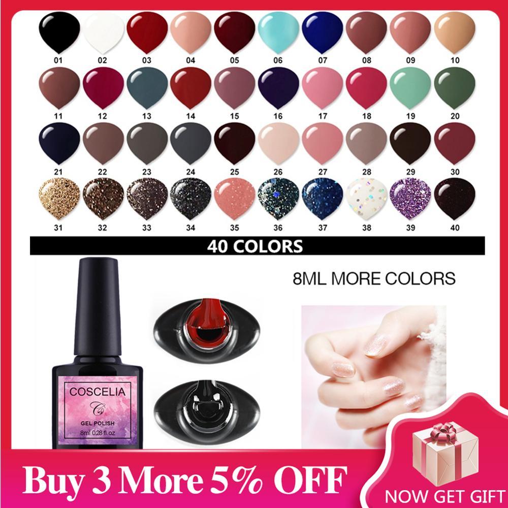 COSCELIA 40pcs/set Gel Nail Polish Set Nail Art Set For Gel Varnish 40 Colors For Nail Art Manicure Set Nail Kit For Manicure