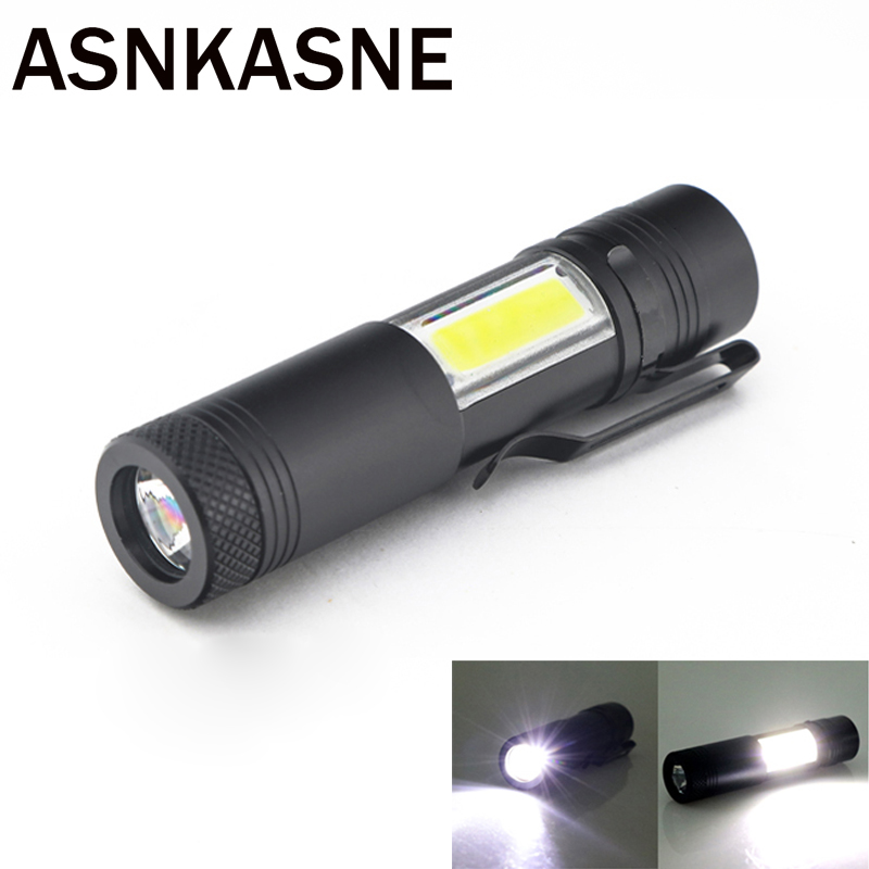 2000LM Mini Portable LED Flashlight XML Q5&COB Work Light lantern Powerful Pen Torch 4 Modes Waterproof Lamp Use 14500 or AA mini penlight 3000lm waterproof led flashlight torch 3 modes zoomable adjustable lantern portable light use aa or 14500
