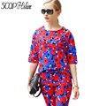 2015 красный синий распечатать летней женщины установить половина элегантный 2 шт. комплект женщин красочный принт установить брюки и блузка женский офис