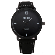 Fashion Round leather Wristwatches Glass Analog Quartz  watch Casual Business Style  Men's   in stock MILER ML24