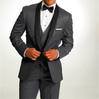 138c73238 2019 Nuevo Negro hombres traje de esmoquin de novio gris de los hombres  traje de pico solapa padrinos de boda para hombres de Trajes (chaqueta +  Pantalones ...