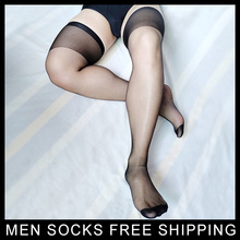 Men Thigh High silks Socks Ultra Thin Sheer Sexy Male Gay Hose Stockings Black See through Softy Mens Nylon socks Stocking men sheer nylon silks socks sexy for leather shoes sexy thin formal socks ankle transparent see through male socks