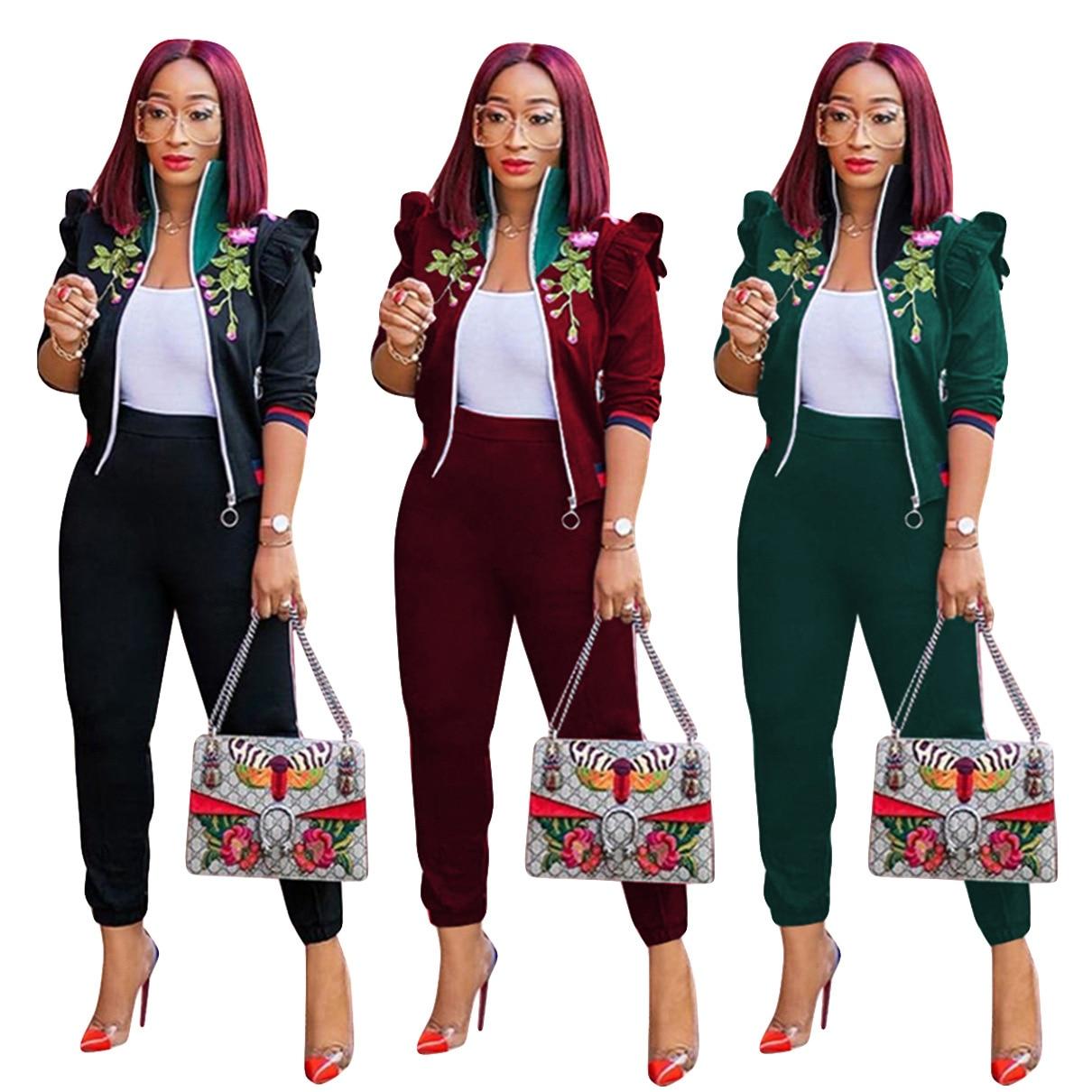 Autumn Winter New 3 Color 2 Piece Set Women Embroidery Long Sleeve Zipper Coat And Casual Sportswear Sweat Pants 2 Pcs Set