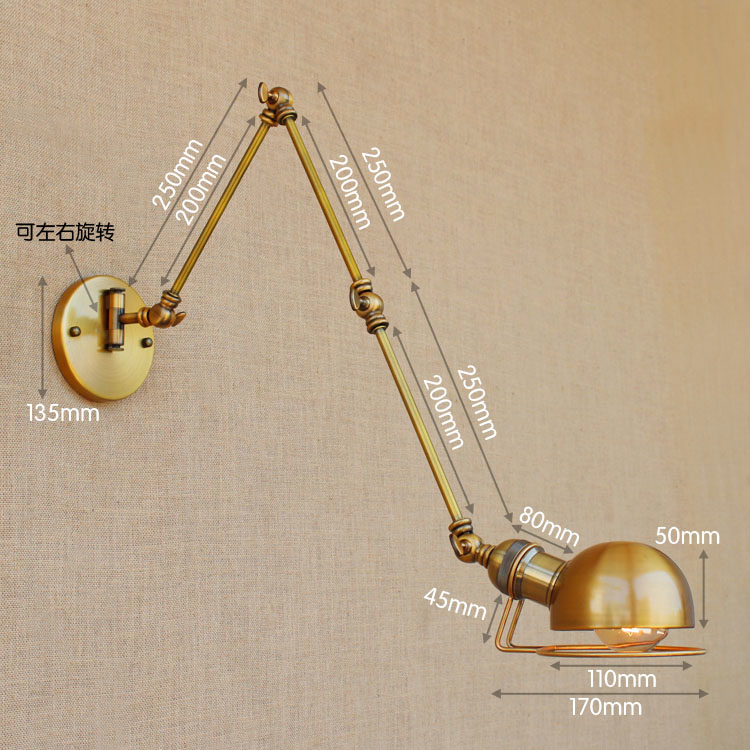 Image 2 - Swing Long Arm Wall Lamp Retro Loft Style Vintage Industrial Lighting Fixtures Wandlamp Edison Wall Sconces Applique Light Pared-in Wall Lamps from Lights & Lighting