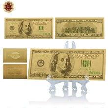 WR-Billete de oro de 100 dólares para decoración del hogar, billete creativo de oro de 24 quilates, papel de aluminio 999,9 dorado, regalos de recuerdo con soporte