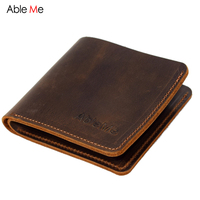 New 2017 Super Thin Mens Slim Wallet Leather Genuine Crazy Horse Leather Wallet Men Custom Name