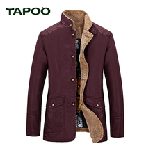 TAPOO 2017 New Winter New Stand Collar Leather Jackets Good Quality Warm Winter Jacket Men 822