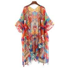 2019 Colorful Jacket Coat Top Summer Chiffon Shirt Hippie Kimono Cardigan Female Retro Boho Lace