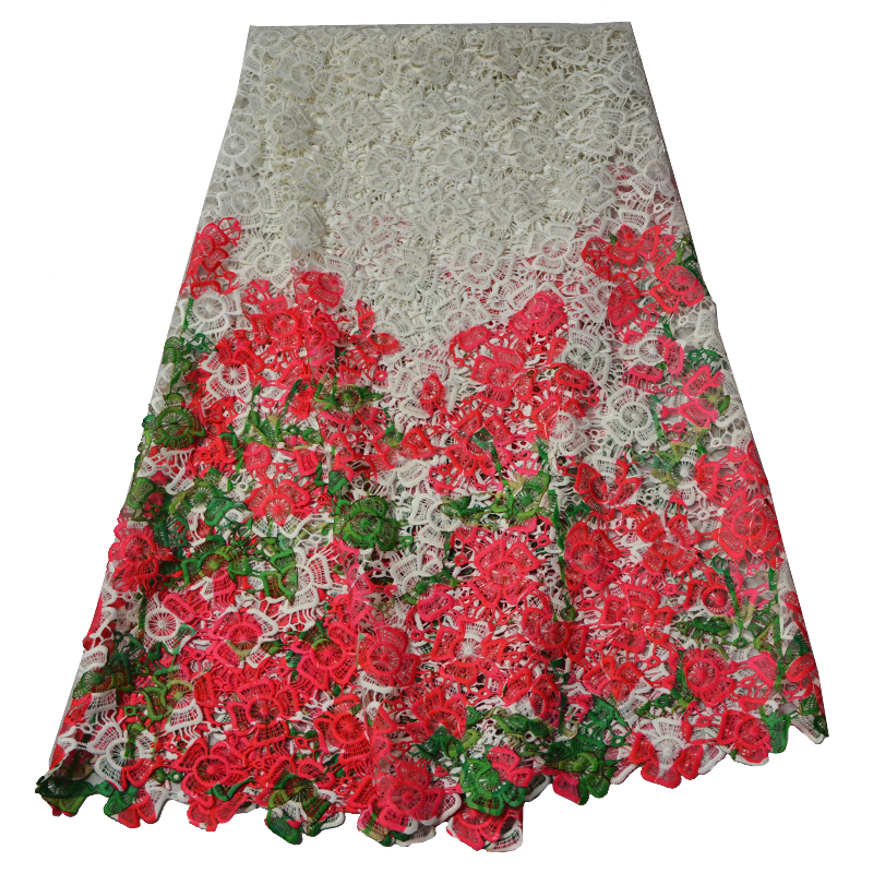 2016 Hot selling high quality african guipure cord lace fabric , fashion style nigerian lace dresses colorful