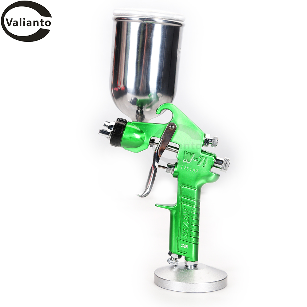 W71-G Spray Paint Gun Hvlp Spray Gun 400ml Paint Guns Nozzle Size 1.3 mm Green Sprayers Gravity Feed Type