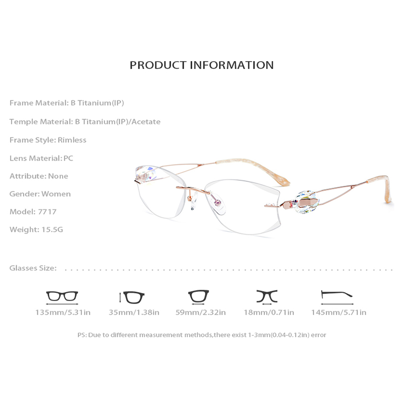 Rahmen Optische Brillen Titan Trimmen Luxus Randlose Frauen Cut 7717 Weiblichen Diamant Draht wqxEvx