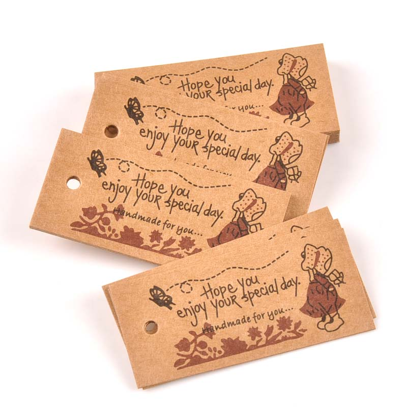 Us 1 4 20 Off 50pcs Kraft Paper Packaging Tags Wedding Birthday Party Candy Bo Arel Sewing Fabric Garment Tag Diy Gifts Crafts C2187 In