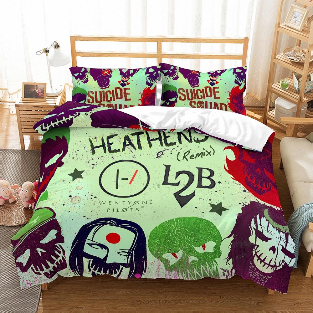 3D Print Suicide Squad Heathens Bedding Set Cartoon Comic Pattern Bed Linen Set 3PCS Boy Microfiber Duvet Cover Set & Pillowcase