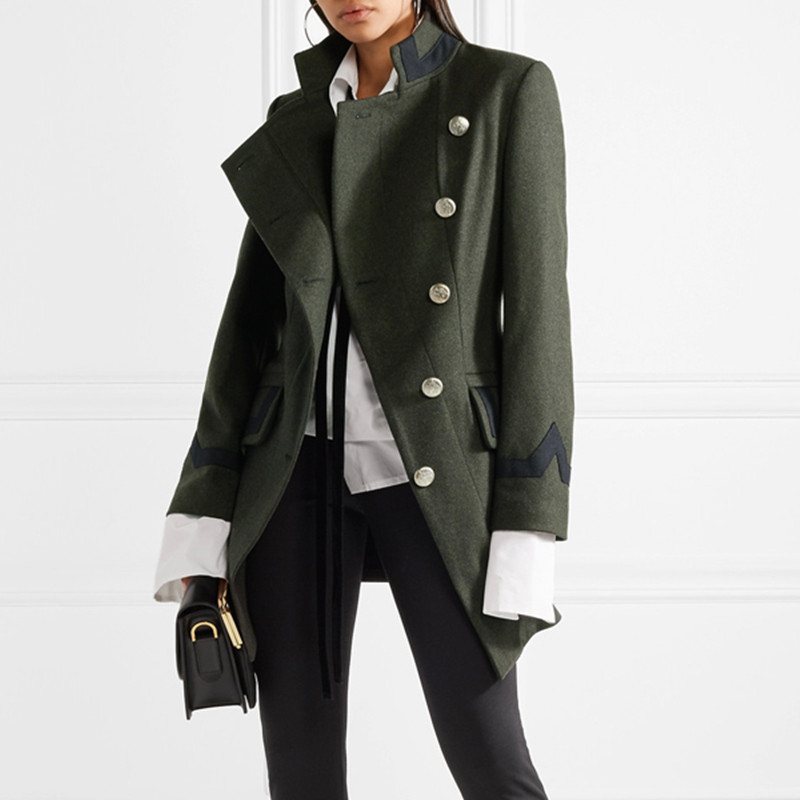 Women Woolen Coat Army Green Big Size Single-Breasted Thick Overcoat Winter Tops,Army Green,XL