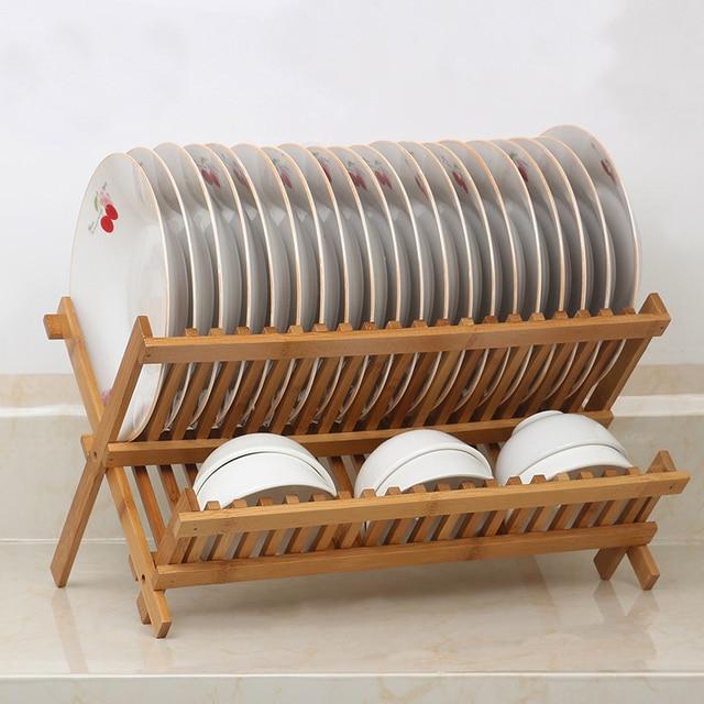 2 Layers Bamboo Dish Rack Storage Drainers Kitchen Dish Drying Racks