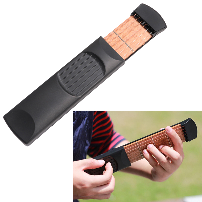 Vintage Mini Portable Pocket Guitar Chord 4 Fret For Beginner Practice Black ...