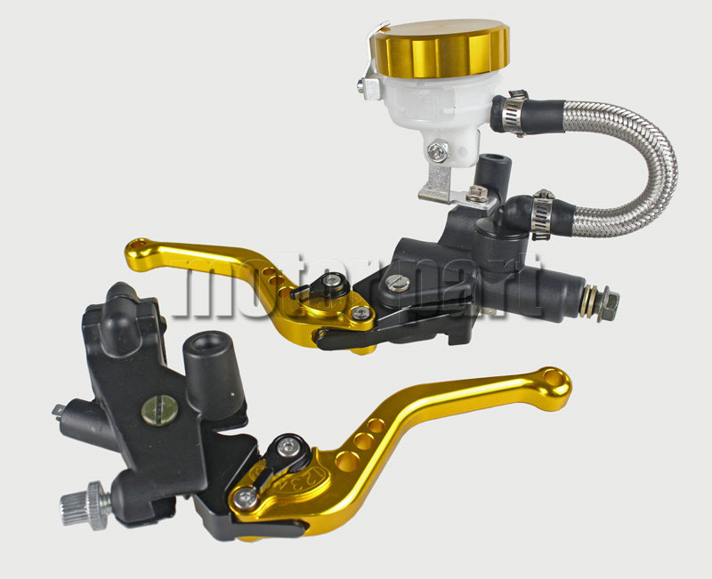 Gold Color 22mm 7/8 Universal Handlebar CNC Brake Clutch Levers Master Cylinder Kit With Fluid Oil Reservoir Set For Suzuki universal motorcycle brake fluid reservoir clutch tank oil fluid cup for mt 09 grips yamaha fz1 kawasaki z1000 honda steed bone