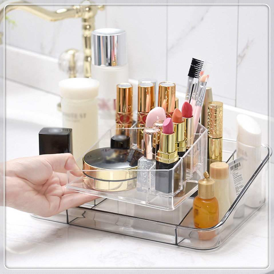 MSJO Plastic and Transparent Makeup Organizer to Organizer Jewelry Nail Polish Lipstick suitable for Office Desk and Dressing Table 6