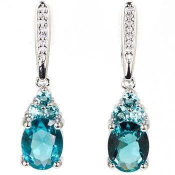 Stunning Rich Blue Aquamarine White CZ Ladies Gift 925 Silver Earrings 32x8mm