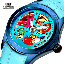 רישום חדש Tevise מותג גברים מכאני שעון אוטומטי אופנה צבעוני אישיות שעונים שעון Relogio Masculino עבור Gi